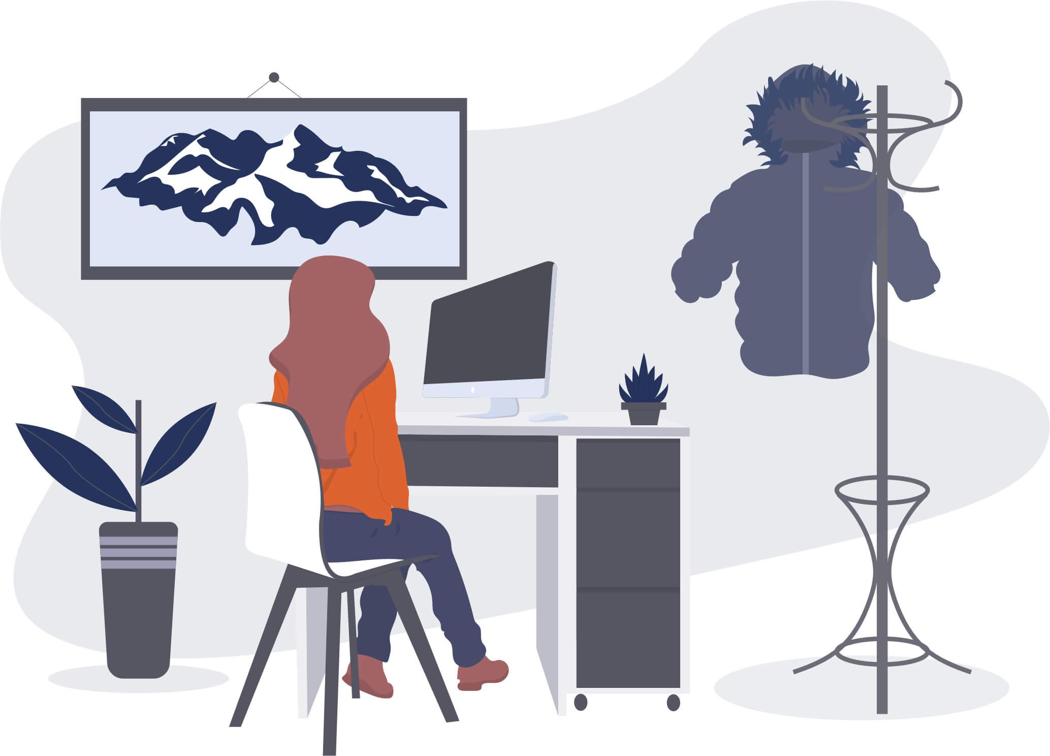 Employee Desk Illustration